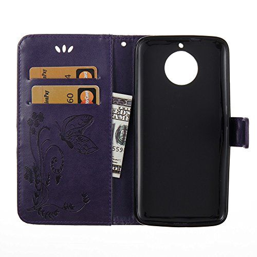 EKINHUI Case Cover Solid Color Faux Leder Bookstyle Brieftasche Stand Case mit geprägten Blumen & Lanyard & Card Slots für MOTO G6 ( Color : Gray ) Purple