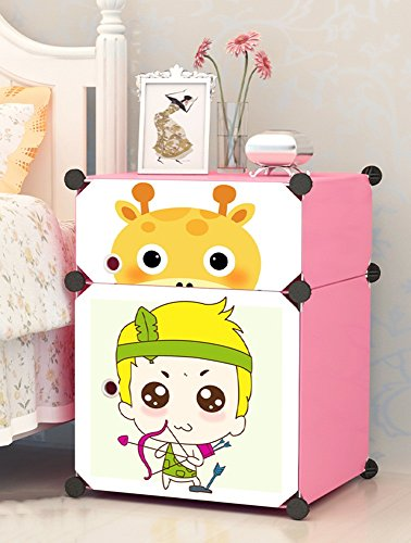 Flashing-DIY Cartoon élégant résine ABS cabinet de lit en plastique, mini enfants armoires de rangement, casiers simples Simple cabinet de lit moderne avec portes (taille : 39 * 37 * 57cm-#2)