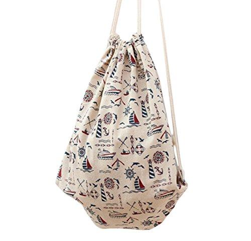 Reise-thema (Lumanuby 1 Stück Turnbeutel Mode Beutel Praktisch Drawstring Bag Durable Canvas Material Rucksack Thema des Reisens am Meer Kordelzug Tasche Größe: 34.5*40cm Beige Farbe)