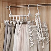 6 in 1 Foldable Plastic Clothes Hangers with Hooks, 360° Rotating Cascading Multi Magic Hanger Shirt Hangers for Space Saving, Hangers Wide Shoulder Non Slip Hangers (White)