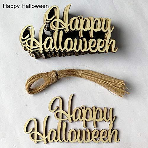 Rustikale Damen Kostüm - resho Halloween Anhänger Verzierungen 9 Stile mit String aus Holz,rustikale Hochzeit Dekoration DIY handgefertigten Ornamenten 10St