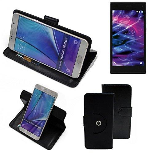 K-S-Trade® Case Schutz Hülle Für -Medion Life P5005- Handyhülle Flipcase Smartphone Cover Handy Schutz Tasche Bookstyle Walletcase Schwarz (1x)