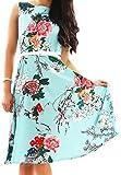 OMZIN Frauen Vintage Floral 1950 inspiriert Swing Abendkleid Kleid grün XL