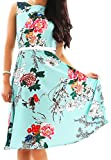 OMZIN Retro Audrey Hepburn Swing Kleid Floral Faltenrock Grün 3XL