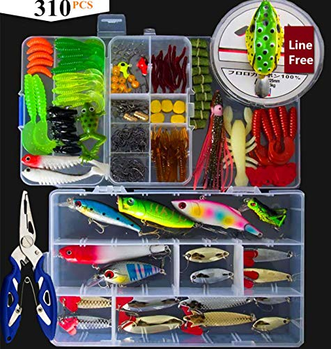 BNTTEAM Fishing Lures Baits Tackle umfasst Crankbaits, Spinnerbaits, Plastic Worms, Jigs, Topwater Lures, Tackle Box und weitere Angelzubehör-Set -