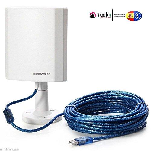 Tuakii Antena WiFi de Exterior de Largo Alcance USB 150 Mbps con Adaptador Inalámbrico LEGUANG N120