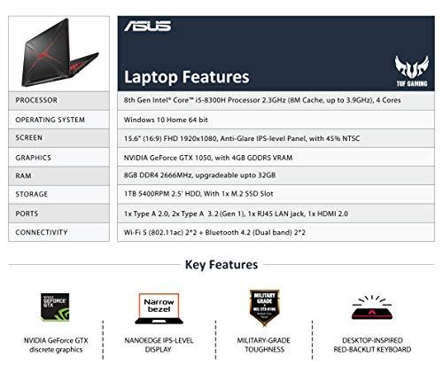 "ASUS TUF Gaming FX505GD 15.6"" FHD Laptop GTX 1050 4GB Graphics (Core i5-8300H/8GB RAM/1TB HDD/Windows 10/Black Plastic/2.20 Kg), FX505GD-BQ136T Image 3"