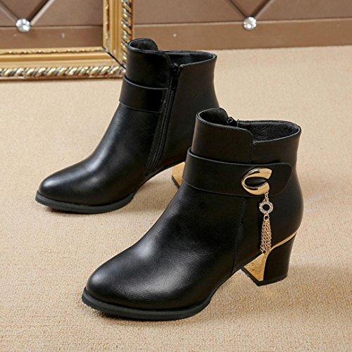 Martin Boot, SOMESUN Stivaletti Martin alti calza Stivali Donna Piazza di cuoio del tallone della piattaforma Black