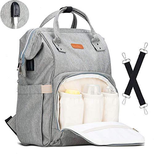Lychee Baby Wickelrucksack Wickeltasche Rucksack Multifunktional mit 3 Isolierte Tasche   Wasserdicht   Große Kapazität   Lässige Kapazität für Beste Ideal Stilvolle Taschen für Mama und Papa (Grau)