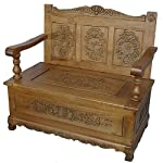 China Warehouse Direct French Furniture, Handcarved Monks Bench/Chair with Lift Top Storage in Oak Finish