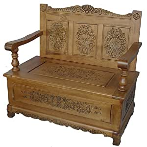 French Furniture, Handcarved Monks Bench /Chair with Lift Top Storage in Oak Finish
