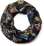 styleBREAKER Eulen, Eichhörnchen und Blumen Muster Loop Schlauchschal, Crash and Crinkle, seidig leicht, Damen 01016092, Farbe:Schwarz