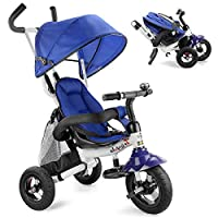 UBRAVOO 6 in 1 Baby Trike, Folding Kids Tricycle Bike, Toddler Stroller with Adjustable Canopy, Safety Harness, Folding Pedal, Storage Bag, Brake for 12 Months - 5 Years (Blue)
