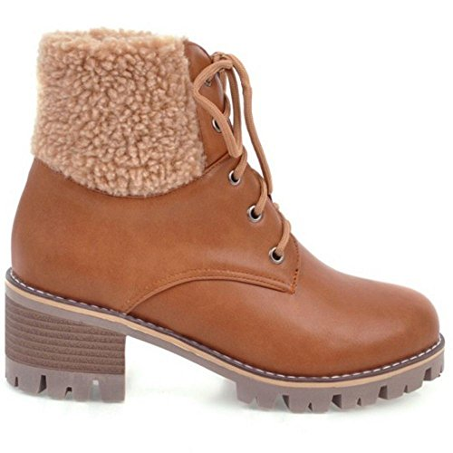 TAOFFEN Femmes Bottes Lacets Yellow-Brown
