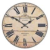 Vevendo Wanduhr - London 1879 - Holz Küchenuhr mit großem Ziffernblatt aus MDF, Retro Uhr im angesagtem Shabby Chic Design mit leisem Quarz-Uhrwerk, Ø: 32 cm