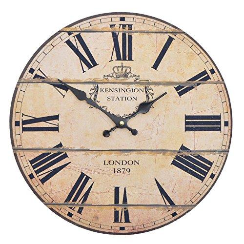 Wanduhr - London 1879 - Holz Küchenuhr mit großem Ziffernblatt aus MDF, Retro Uhr ...