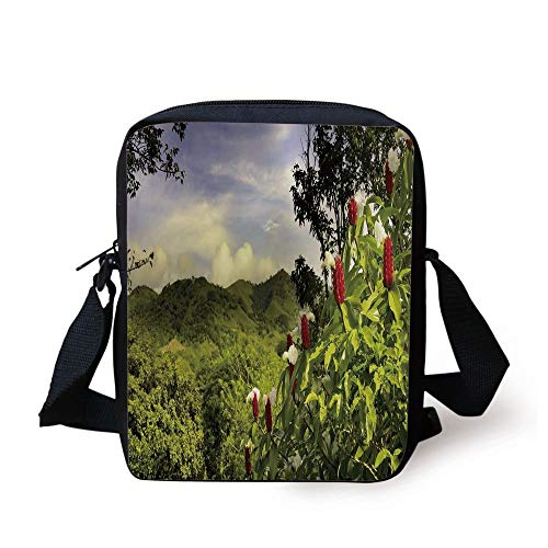 ZKHTO Forest,Rural Scenery Costa Rica Countryside Greenery Tropic Accents Botanical,Green Red Violet Blue Print Kids Crossbody Messenger Bag Purse