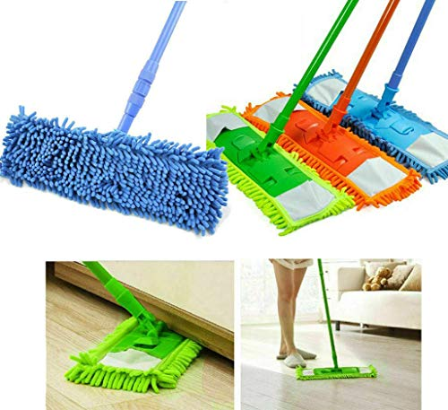 Look n Like Wet and Dry Cleaning Flat Microfiber Floor Cleaning Mop with Telescopic Long Handle Dry Mop, Standard (Multicolour)