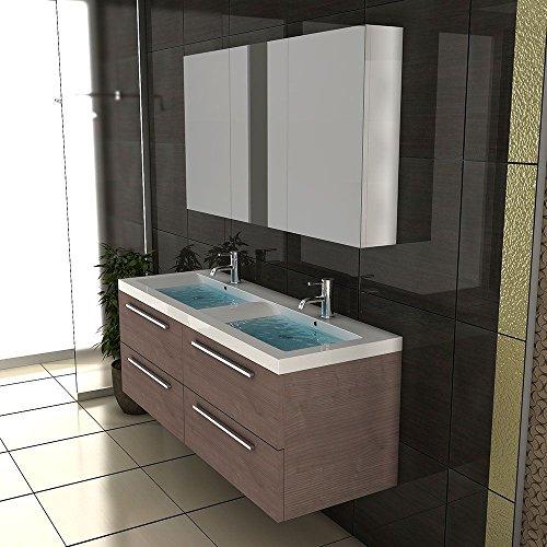 Badezimmer Möbel / Waschbecken / Doppelwaschtisch / Badmöbel / Unterschrank / Waschplatzlösung / Modell Garda-1440 / Farbe: Braun / Waschtisch - 5