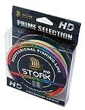 Stork HD, 4-Fach geflochtene Angelschnur 300m (Multicolor, 8 lbs / 3.6 kg / 0.08 mm)