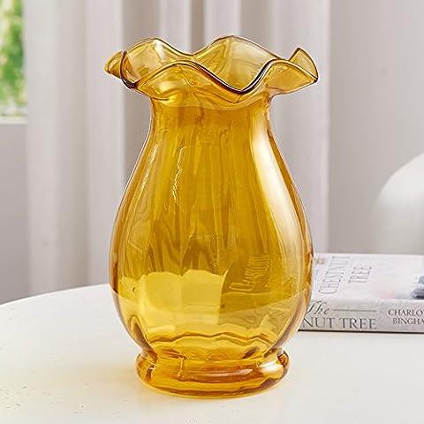 qwer Onda continentale porta vasi di vetro con colori eleganti acqua trasparente paiwha è moderno arredo , Home decorazioni in giallo
