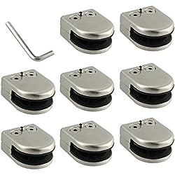 Neoteck Pince De Verre 8 PCS 6-8mm En Acier Inoxydable 304 Clip En Verre Pince Support Dos Plat Finition Chromig pour Balustrade