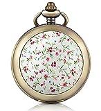 Unendlich U Rosa Blumen Foto Medaillon Handaufzug Mechanische Taschenuhr Weißes Zifferblatt Skelettuhr Pullover Halskette, beide Ketten
