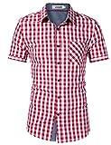 KOJOOIN Herren Kariertes Hemd Slim Fit Kurzarmhemd für Männer - 100% Baumwolle Rot 2XL
