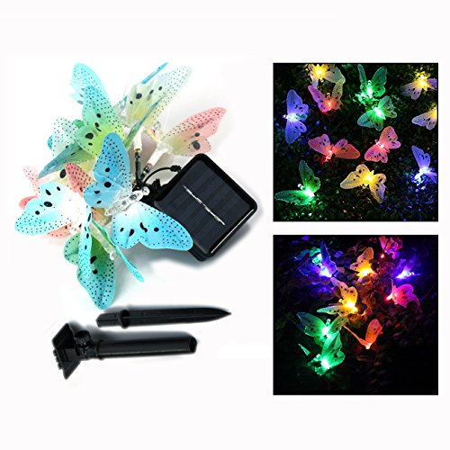 (Itian LED Solar Licht,Wasserdichte Beleuchtung Dekoration mit Lichtsensor,Ideal für Halloween,Weihnachten,Party(Schmetterling))