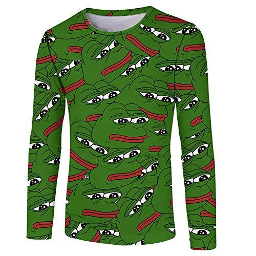 9f35cd2086ebf HlHl Pullover da Uomo a Manica Lunga con t-Shirt a Girocollo 3D Frog