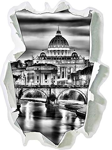Monocrome, Vatican, Place Saint-Pierre, célèbrePapier aspect 3D, la taille de la vignette mur ou de porte: 62x45cm, stickers muraux, sticker mural, décoration murale