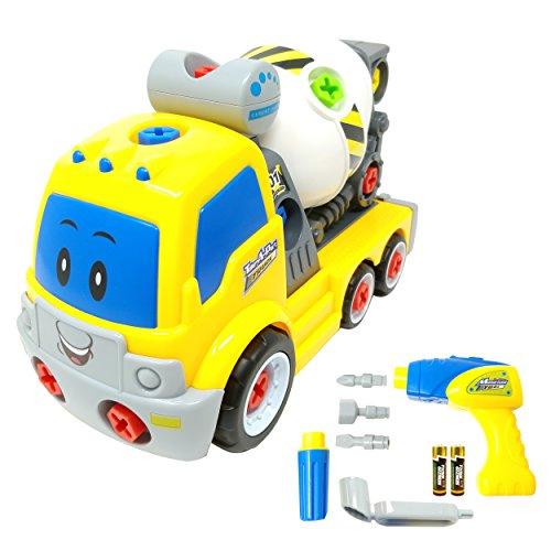 Zerlegbares Spielzeug-Betonmischfahrzeug TG650 - Zerlegbares Betonmischfahrzeug als Spielzeug für Jungen mit funktionierendem Bohrer & beweglichen Teilen - Spielzeug für Jungen & Mädchen von 3 bis 6 Jahren - Von ThinkGizmos (markengeschützt) (Bohrer Spielzeug Mit)