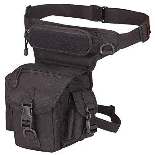Rullar - Mochila táctica Militar para Senderismo, Cintura y Cintura, Bolsa para Correr al Aire Libre, Camping, Motocicleta, Ciclismo, Bolsa de Hombro, Color Negro, tamaño 1