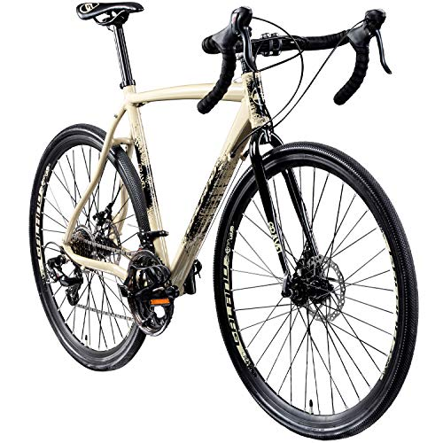 "Galano Cyclocross 700c Gravel Bike Cross Fahrrad Rennrad 28"" Gravel Trail 14Gang (Creme/anthrazit, 55 cm)"