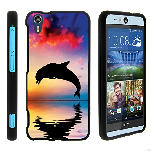 turtlearmor   Kompatibel für HTC Desire Eye Case [Slim Duo] Hard Shell Snap on Case Compact Cover Matt Sea Ocean Design auf Schwarz -, Dolphin Jump (Htc Desire Virgin Mobile)