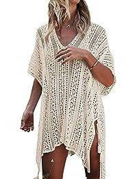 UMIPUBO Mujer Ropa de Baño Crochet Vestido de Playa V Cuello Camisolas y Pareos Bikini Cover