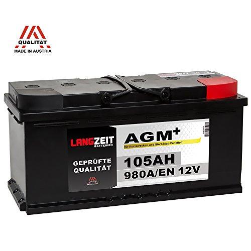 Preisvergleich Produktbild LANGZEIT AGM+ 105Ah 12V 980A/EN Start-Stop Autobatterie VRLA Batterie