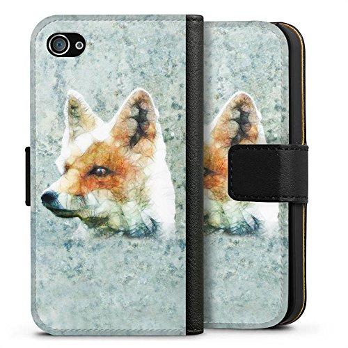 Apple iPhone X Silikon Hülle Case Schutzhülle Fuchs Fox Muster Sideflip Tasche schwarz
