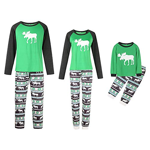 XYQB Family Christmas Pyjamas Set Kids Langarm Passende Elch Gestreifte Schneeflocke Nachtwäsche Erwachsene Kinder Nachtwäsche,Women,L