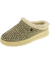 Ladies Skechers Bobs Faux Fur Memory Foam Open Back Mule Slipper Shoes Natural