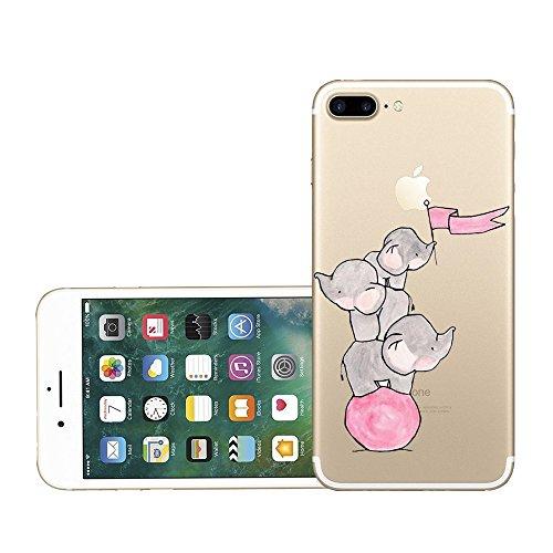 Qissy®TPU Case für iPhone 7 Plus 5,5 inch-Silikon-Hülle Soft Shell-Fall-Schutz Anti Shock Silikon Anti-Staub-beständig Tierischer Elefant (iPhone 7 Plus 5,5 inch, 11) 5