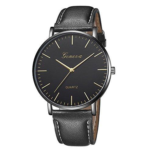 Herren Damen Armbanduhr, Paticess Mode Klassisch Unisex PU Leder/Legierungsband Anolog Uhren für Frauen Männer (Rose Gold Luxus-uhr Genf)