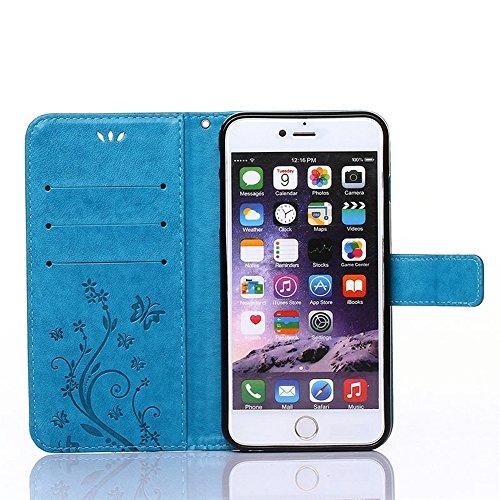 "COOLKE Retro Butterflies Pattern Design PU Leather Wallet With Card Pouch Stand Lederhülle Leder Tasche Case Cover für Apple iPhone 6 6s (4.7"")Schutzhülle Hülle - Rose Blau"