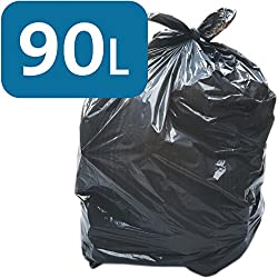 Alina 90L en polyéthylène Noir robuste Sac poubelle/Poubelle Liner/sac poubelle lourd 90litre Plastique Noir Garbage Sac, 25 sacks