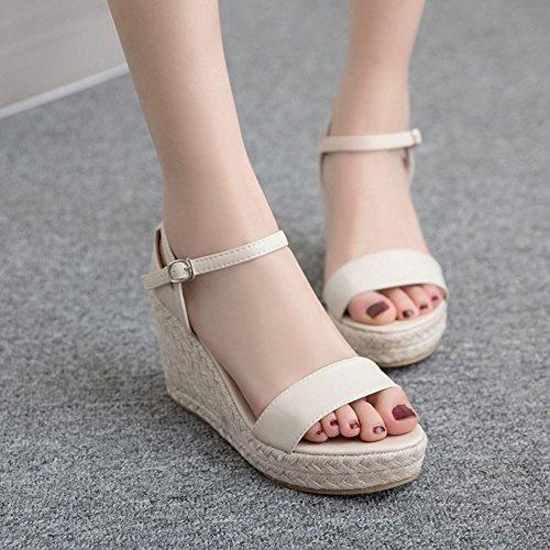 event Sandalen Schuhe Aprikose Damen Coolcept Keilabsatz Open Mode Knochelriemchen Toe If6wEPqx