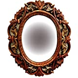 A.R Handicraft Decorative Mirror (Oval Finish : Matt) Golden Brown