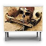 banjado - Badunterschrank 60x55x35cm Design Waschbeckenunterschrank mit Motiv Pirat