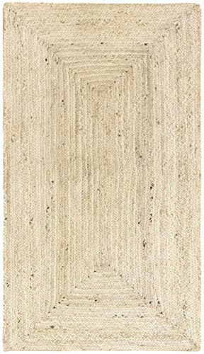 HAMID Alfombra Yute Alhambra Color Semi Blanco- Alfombra 100% Fibra de Yute (60x110cm)