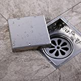 Homelody Square invisible Shower Floor Drain with Removable Cover Drain Grate Stainless Steel 110*110 mm, Brushed Finish