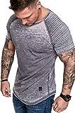 Amaci&Sons Oversize Herren Vintage Verwaschen Biker-Style T-Shirt Crew Neck Rundhals Basic Shirt 6087 Anthrazit S